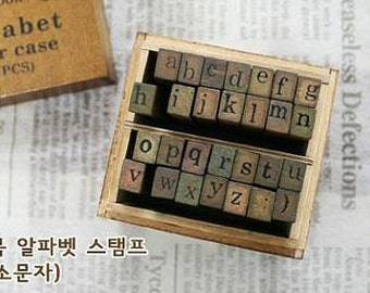 Wooden Rubber Stamp Box - Alphabet Stamps - Print Style - Lowercase Letters - 28 pcs