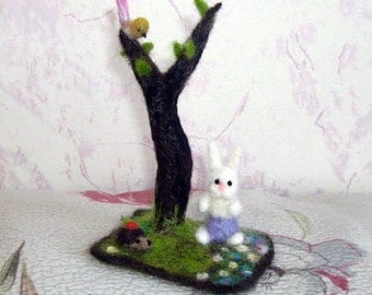 Needle Felted Compositions - a Hare, Hedgehog and Bird