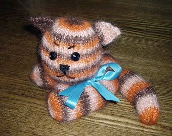 Hand Knit Toy Striped Kitten