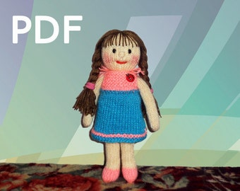PDF Patterns Hand Knit Doll Dressed in a Frock