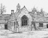 Digital Art Print - Pencil Drawing - Old Village School Summerset England 8 1/2 x 11 inches