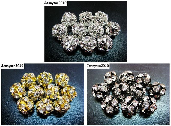 50pcs Crystal Rhinestones Pave Round Ball Spacer Beads Pick your Colors 10mm