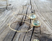 Aquamarine Blue Earrings- Gold Hoop- Spring 2012 Collection