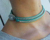 Tiffany Blue- Wrap Around Leather Choker Necklace- Hip Fashion- INTRODUCTORY PRICE