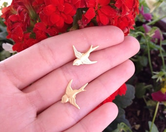 Gold Bird Earrings Studs