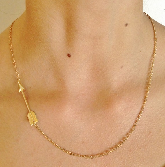 Arrow Necklace-Gold Piercing Arrow Necklace- Bridesmaids Gifts- Gold Casual Jewelry- Arrow Charm