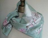 1930s vintage antique silk scarf eau de nil Venice