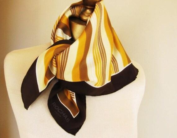 French vintage designer scarf Rochas Paris 1970s