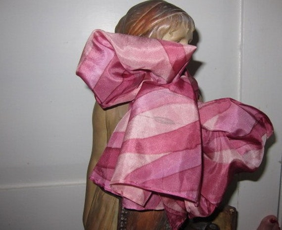Pink silk scarf handcrafted