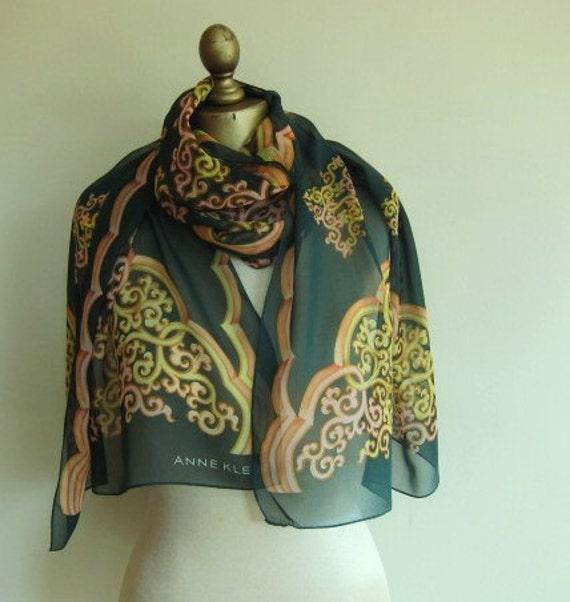 Anne Klein semi sheer large  long chiffon scarf