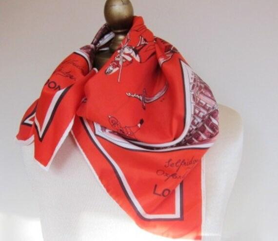 London Selfridges vintage souvenir scarf 60s 70s