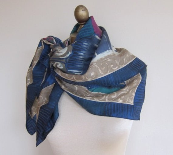 Subtle silk scarf Adrienne Vittadini steel blue 80s Stormy Weather