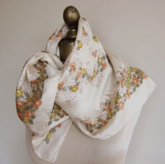 Vintage silk scarf 70s floral