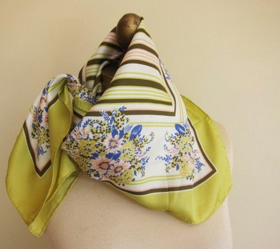 Chartreuse 1950s 60s  vintage scarf