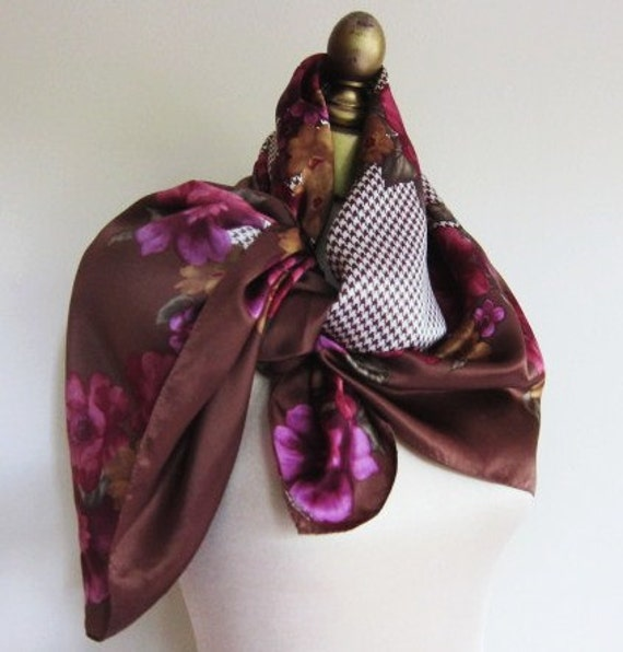 RESERVED for SUSAN  Oscar de la Renta silk scarf  hounds tooth and floral  80s autumn colors
