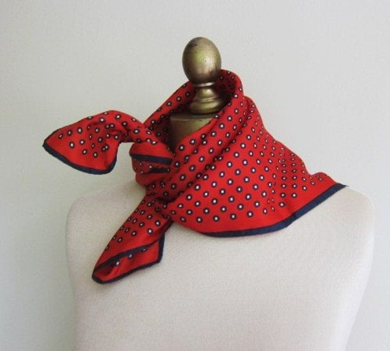red white and blue 1960s silk scarf