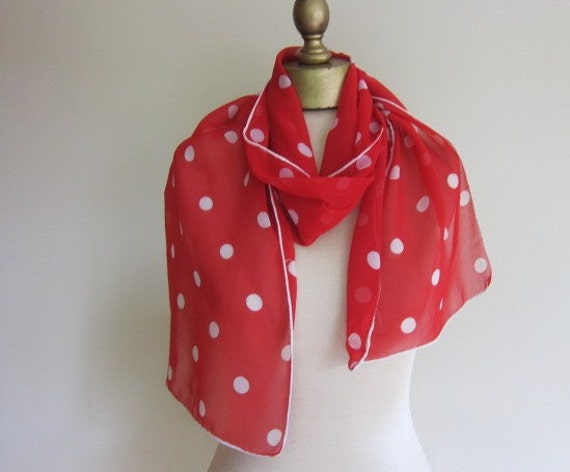 Red and white polka dot vintage scarf 1950s 60s