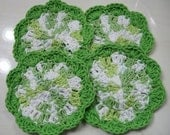 Lime Green and White Crocheted Flower Coasters - Set of 4