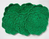 Crocheted Bright Green Coasters - Set of 6