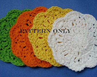 Crochet Pattern Flower Coasters Table Protector Digital Download