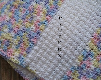 Crochet Pattern Baby Blanket Afghan Stripes - Digital Download