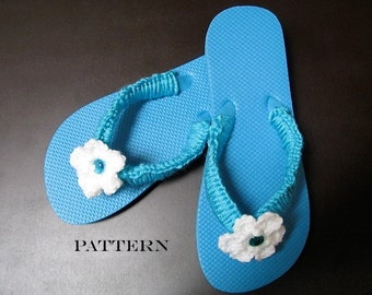 Crochet Pattern Flowered Flip Flops - Digital Download