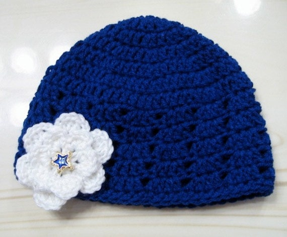 Cloche Royal Blue Flower Embellishment