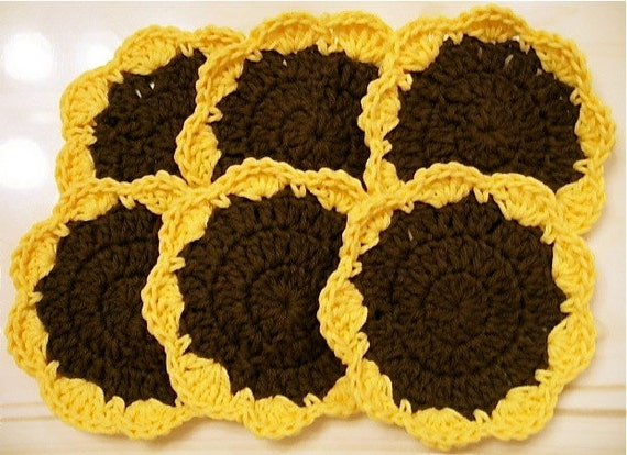 Crocheted Sunflower Coasters - Set of 6