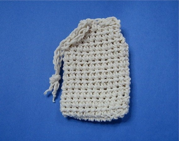 Crocheted Soap Saver Drawstring Bag Ecru