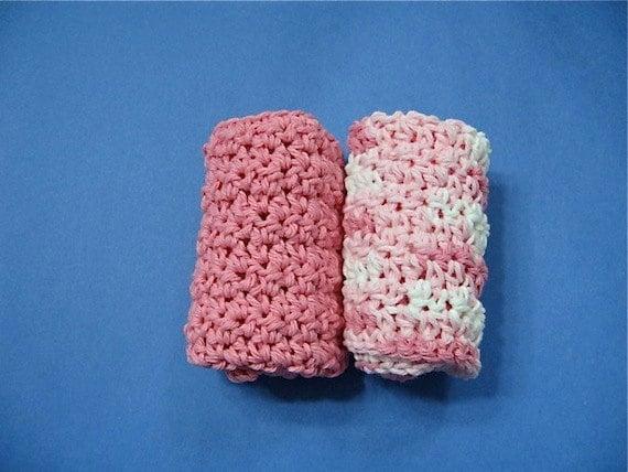 Crocheted Cotton Dishcloths Pink Set of 2