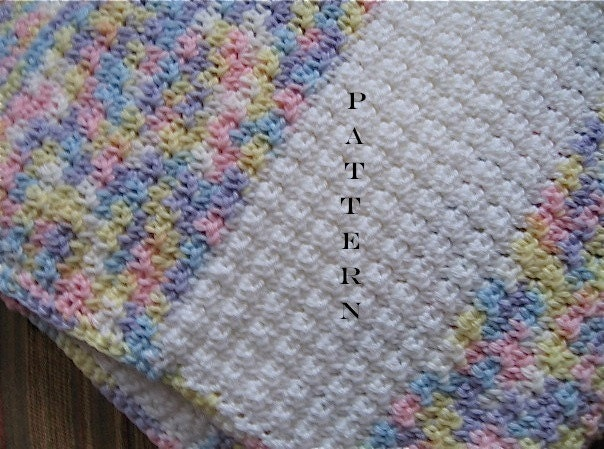 Crochet Patterns Afghan Blanket : Crochet Pattern Baby Blanket Afghan Stripes Digital by NanaLetha