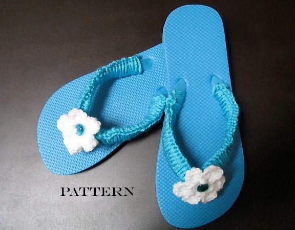 Crochet Patterns Using Flip Flops : Crochet Pattern Flowered Flip Flops Digital Download
