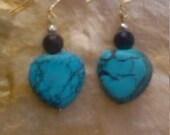 Stone Heart Drop Earrings Blue Howlite Black Agate Beads