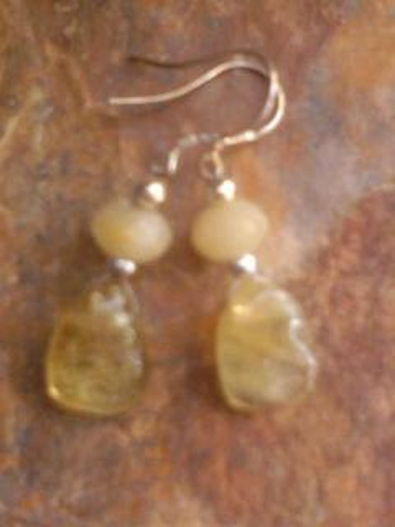 Yellow Citrine Topaz Earrings Beaded Crystal Stone Reiki Charged Healing
