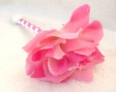 Cotton Candy Pink Rose Single Flower Pen