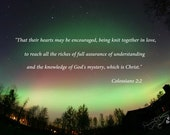Northern lights photo with Bible Verse