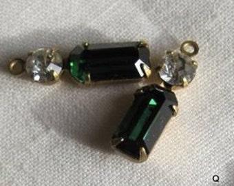 Swarovski Crystal Green Turmaline 2 Stone Rhinestone 19MM Brass Connector Rectangle