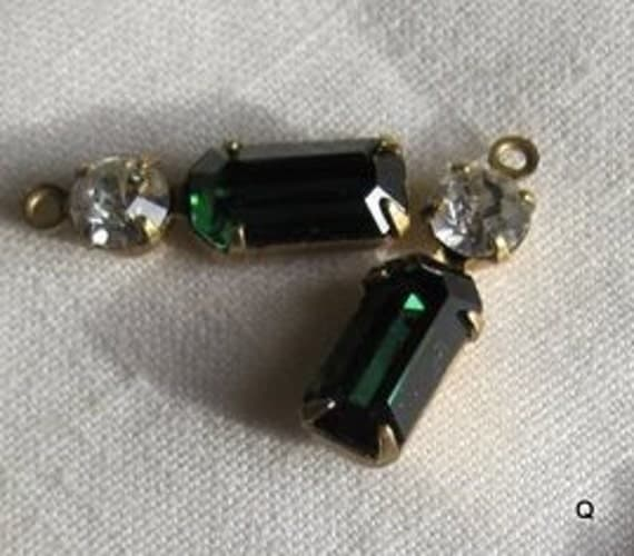 Swarovski Crystal Green Turmaline 2 Stone Rhinestone 19MM Brass Connector Rectangle