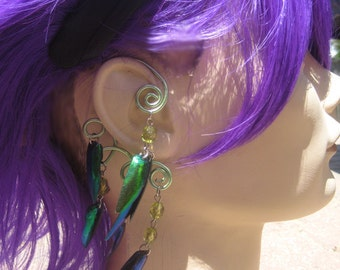 Feather and Jewel Wing  - Glittering Dragon Fly - Bohemian Ear Wrap - Ear Cuff - Authentic Jewel Wings