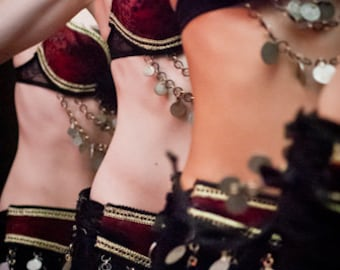 Tribal Feathered Belly Dancer Attire - Matching Attire for your entire troop - Custom Fit - Many Colors available