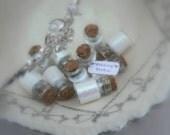Wedding Favors set of 10, Wishes, Fairy Tale Wedding, Wedding Party Set, White, cork jar, glass jar