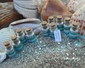 Beach Wedding Favors set of 10 cork  jars, Blue, White