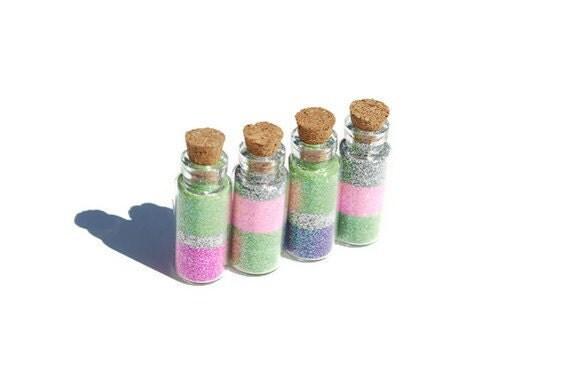 Fairy Jars set of 4 Ready to ship SALE, Magic Dust, Pixie Powder, Wishing Vial, Princess, Rapunzel