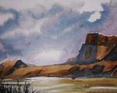 WESTERN LANDSCAPE II Original Watercolor Painting, 5x7