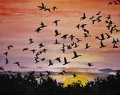 "MOVEMENT original watercolor painting 10.25x14.25"""