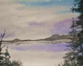 """NIGHT LAKE original watercolor painting, 6.5x4.5"""""""