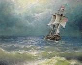"""163 - """"Sailing Ship in the Choppy Sea"""",  8"""" x 10"""" original giclee print"""