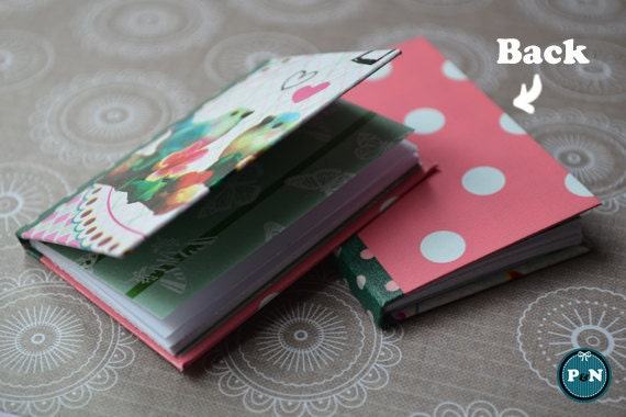 Miniature Sketchbook (L) - 'Pink & Green Animals' (with blank pages) for dolls