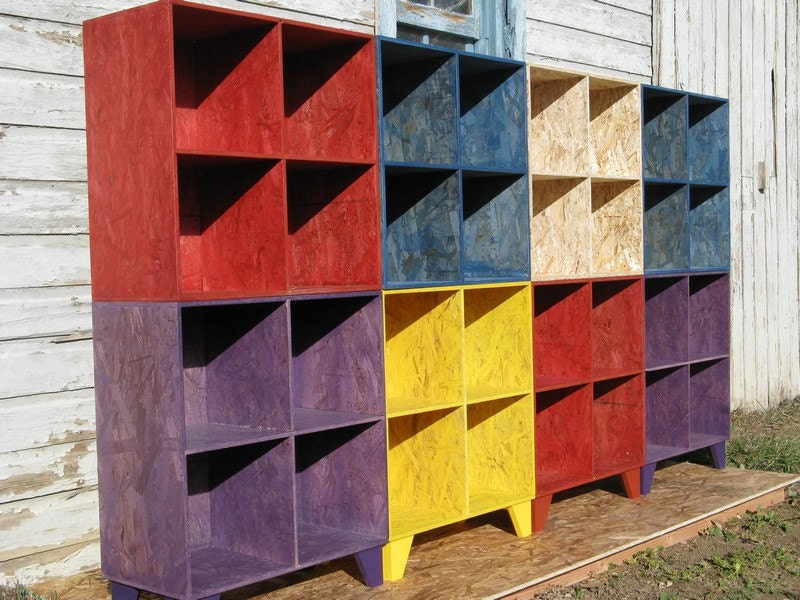 multi colored osb cubby bookcases