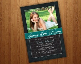 Printable Sweet 16 Invitations / Sweet Sixteen Invitations - Teal